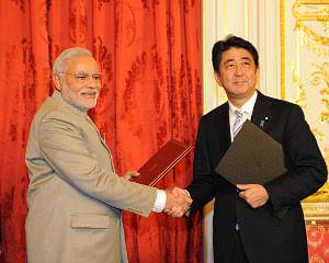 Prime Minister Narendra Modi with his Japanese counterpart Shinzo Abe in Tokyo on September 1, 2014.