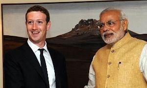Facebook CEO Mark Zuckerberg calling on Prime Minister Narendra Modi, in New Delhi on October 10, 2014.