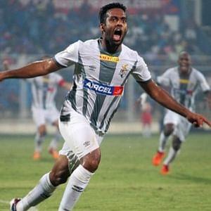 Cavin Lobo of Atletico de Kolkata celebrates after scoring the match winner against FC Goa at Margao on October 23, 2014.(Photo courtesy:ISL)