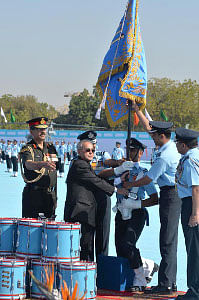 President Pranab Mukherjee presenting the President's Standards to 21 Squadron and 116 Helicopter Unit of the Indian Air Force, in Jodhpur on March 4, 2015.
