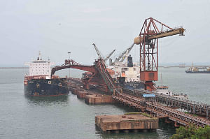 A partial view of Iron Ore Berth at Visakhapatnam Port which has been taken over by  Essar Ports
