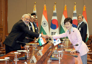 Prime Minister Narendra Modi and South Korean President Park Geun-hye, at their delegation level talks in Seoul, on May 18, 2015.