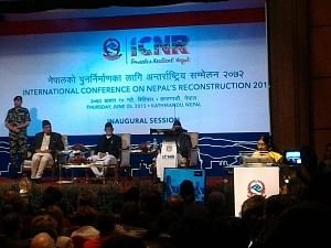 External Affairs Minister Sushma Swaraj addressing the International Conference on Nepal's Reconstruction in Kathmandu, on June 25, 2015.