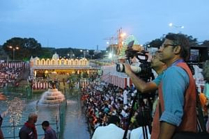 Filmmaker Rajendra Kondapalli with his crew during the making of Inside Tirumala Tirupati, a documentary film that will premiere on National Geographic Channel on March 27, 2017