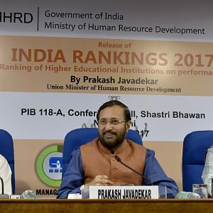 "Union Minister for Human Resource Development Prakash Javadekar addressing at the release of the ""INDIA RANKING 2017"", in New Delhi on April 3, 2017."