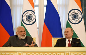 Prime Minister Narendra Modi and Russian President Vladimir Putin at the joint media briefing, at Konstantin Palace, in St. Petersburg, Russia on June 1, 2017.