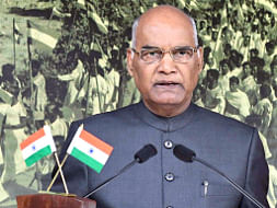 President Ram Nath Kovind addressing the nation on the eve of Independence Day 2017, in New Delhi on August 14, 2017.