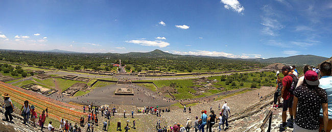Panoramic view from the Pyramid of the Sun - the Pyramid of the Moon can be seen on the right