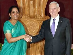 Defence Minister Nirmala Sitharaman welcoming US Secretary of Defence James Mattis, in New Delhi on September 26, 2017.