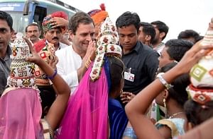 Congress Vice-President Rahul Gandhi being greeted by people at Rajkot on the second day of his three-day Navsarjan Yatra in Gujarat, on September 26, 2017.