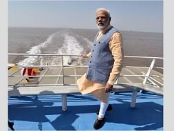 Prime Minister Narendra Modi on the maiden voyage of Ro-Ro ferry service between Ghogha and Dahej, in Gujarat on October 22, 2017
