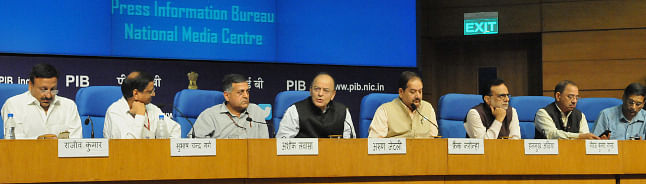 Union Minister for Finance Arun Jaitley addressing a press conference, in New Delhi on October 24, 2017.