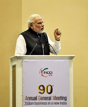 Prime Minister Narendra Modi addressing the inaugural session of the 90th Annual General Meeting of FICCI, in New Delhi on December 13, 2017