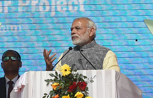 Prime Minister Narendra Modi addressing the gathering at the ceremony to dedicate the Tuirial Hydro Electric Power Project to the nation, in Aizawl on December 16, 2017.
