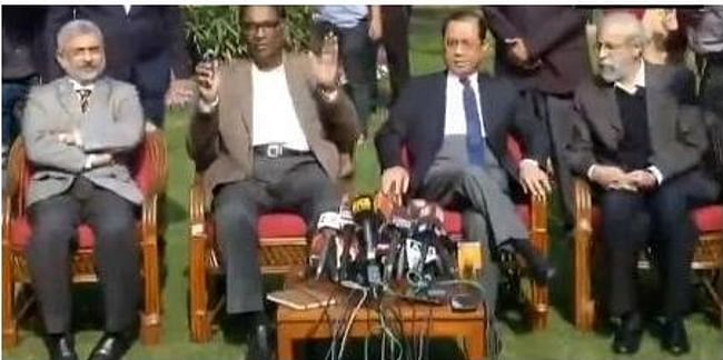 Four senior Supreme Court judges -- Justice Jasti Chelameswar, Justice Ranjan Gogoi, Justice Madan Lokur and Justice Kurien Joseph -- addressing a press conference in New Delhi on January 12, 2018.