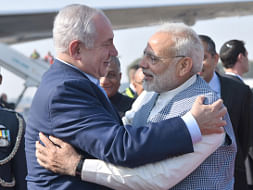 Prime Minister Narendra Modi receiving Israeli Prime Minister Benjamin Netanyahu at the Delhi airport on January 14, 2018