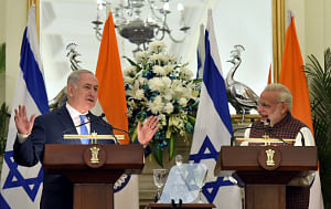 Prime Minister Narendra Modi and his Israeli counterpart at a joint media interaction after their bilateral talks in New Delhi on January 15, 2018.