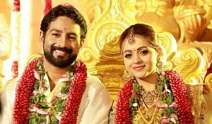 Malayalam film actress Bhavana and Kannada film producer Naveen at their wedding in Thrissur, on January 22, 2018.Photo:Bhavana's Facebook page.