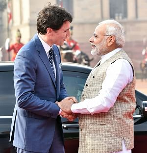 Prime Minister Narendra Modi with Canadian Prime Minister Justin Trudeau in New Delhi, on  February 23, 2018