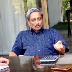 Goa Chief Minister Manohar Parrikar at a meeting with senior officials at his residence in Panaji on March 5, 2018.