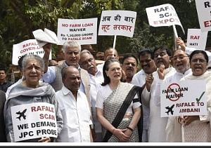 UPA chairperson Sonia Gandhi and other opposition party leaders raise slogans against the NDA Government over the Rafale deal, in New Delhi, on August 10, 2018.(Photo: IANS).