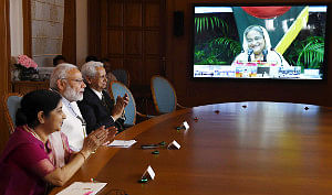 Prime Minister Narendra Modi dedicating three projects in Bangladesh in New Delhi, jointly with Bangladesh Prime Minister Sheikh Hasina, West Bengal Chief Minister Mamata Banerjee and Tripura Chief Minister Biplab Kumar Das via video-conference, on September 10, 2018.