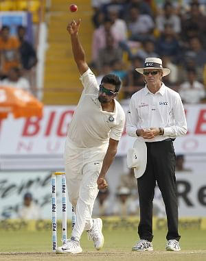 India's Ravichandran Ashwin in action on Day 2 of the First Test match between India and West Indies at Saurashtra Cricket Association Stadium in Rajkot on October 5, 2018. (Photo: Surjeet Yadav/IANS)