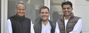 File photo of Congress President Rahul Gandhi with Ashok Gehlot and Sachin Pilot, after their meeting in Delhi on December 14, 2018.