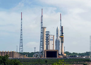 Arianespace's Ariane 5 mission, designated as Flight VA 246, in the launch zone at its spaceport in French Guiana with two international satellite payloads: India's GSAT-11 and Korea's GEO-KOMPSAT-2A. Photo: Arianespace.