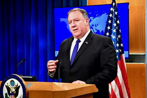 United States Secretary of State Michael Pompeo speaking to reporters at the StateDepartment of State in Washington on Monday, June 10, 2019. (Photo: State Department/IANS)
