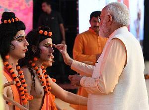 Prime Minister Narendra Modi attending the Dussehra celebrations. at DDA Ground, Dwarka, in New Delhi on October 8, 2019.
