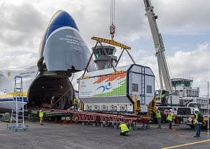 India's communication satellite GSAT-31 being unloaded from an Antonov An-124 cargo jetliner after arriving in French Guiana. Photo: Arianespace.