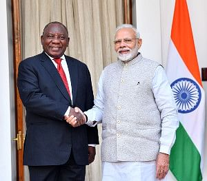 Prime Minister Narendra Modi with South African President Cyril Ramaphosa, at Hyderabad House, in New Delhi on January 25, 2019.