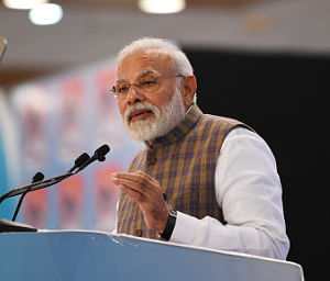 Prime Minister Narendra Modi delivering the inaugural address at Petrotech 2019, in Greater Noida, Uttar Pradesh on February 11, 2019.