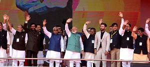 File photo of Prime Minister Narendra Modi, Bihar Chief Minister Nitish Kumar, Deputy Chief Minister Sushil Kumar Modi and Union Ministers Ramvilas Pasvan, Ravi Shankar Prasad and Ram Kripal Yadav at a rally in Patna, on March 3, 2019. (Photo: IANS)