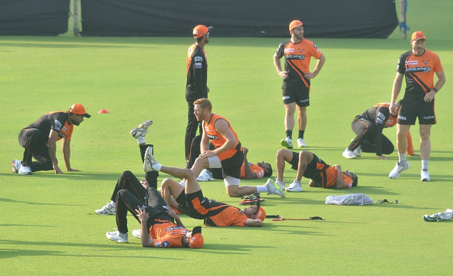 Sunrisers Hyderabad head coach Tom Moody, captain Kane Williamson and mentor V. V. S. Laxman during a practice session at the Eden Gardens in Kolkata, on March 23, 2019. (Photo: IANS)