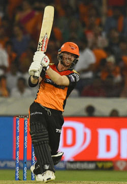 Sunrisers Hyderabad's David Warner in action during the eighth IPL 2019 match between Sunrisers Hyderabad and Rajasthan Royals at Rajiv Gandhi International Stadium in Hyderabad on March 29, 2019. (Photo: IANS)
