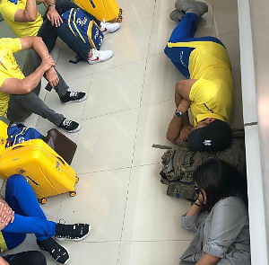 The hectic schedule of the Indian Premier League (IPL) was on full display when Mahendra Singh Dhoni posted a picture of him sleeping on the floor of an airport after Chennai Super Kings' win over Kolkata Knight Riders. (Photo: Twitter/@ChennaiIPL)