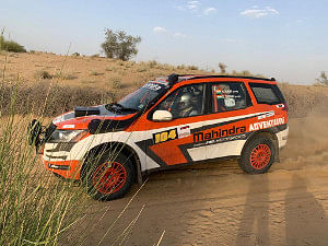 Chandigarh's Sunny Sidhu along with co-driver Ashwin Naik in action during Day 2 of the Desert Storm in Bikaner on May 9, 2019