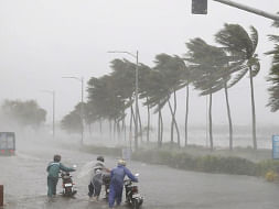 A scene in  Odisha as cyclone Fani in the  Bay of Bengal intensified and was likely to cross the coast near Puri on May 3. (Photo: IANS/PIB)