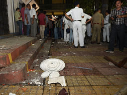 A view of the damaged statue of Ishwar Chandra Vidyasagar which was vandalised at Vidyasagar College in the clashes that broke out during BJP President Amit Shah's roadshow, in Kolkata, on May 14, 2019. (Photo: IANS)