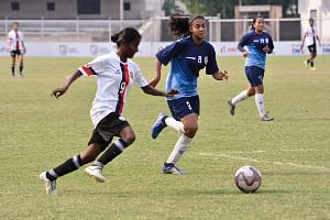 Bangalore United FC in action against Baroda Football Academy in the Hero Indian Women's Football League in Ludhiana on May 16, 2019