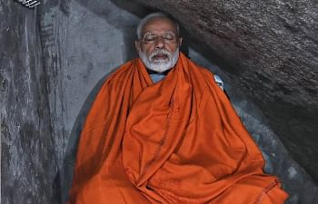 Prime Minister Narendra Modi meditating in a cave called 'Dhyan Kutia' in Uttarakhand's Kedarnath on May 18, 2019. (Photo: IANS)