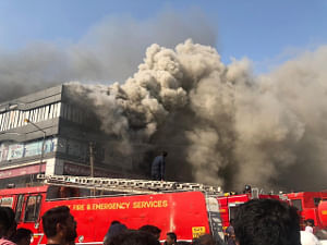 The scene in Surat, Gujarat where a major fire broke out at a commercial complex that housed, among others, a coaching centre, killing 20 students, on May 24, 2019.