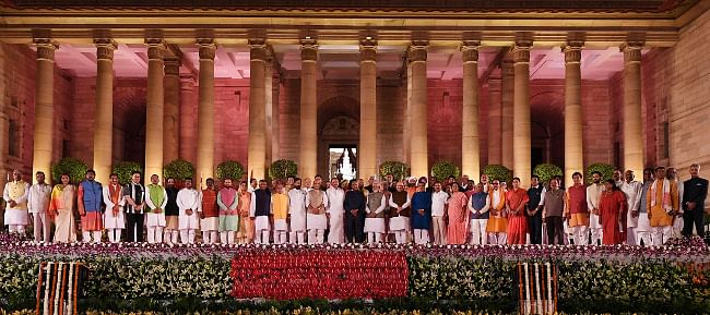 President Ram Nath Kovind, Vice-President M. Venkaiah Naidu with Prime Minister Narendra Modi and other members of Council of Ministers after the swearing-in ceremony, at Rashtrapati Bhavan, in New Delhi on May 30, 2019.