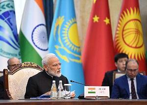 Prime Minister Narendra Modi at the delegation=-level meeting of the Shanghai Cooperation Organization (SCO) Summit, in Bishkek, Kyrgyz Republic on June 14, 2019.