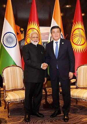 Prime Minister Narendra Modi meeting the President Sooronbay Jeenbekov of Kyrgyz Republic, in Bishkek on June 14, 2019.