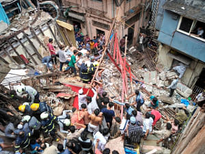 Rescue operations underway at Kesarbai building - a four-storeyed building that collapsed in south Mumbai's Dongri area with at least 50 people feared trapped in the debris on July 16, 2019. (Photo: IANS)