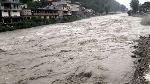 A view of Beas river in spate after incessant rains, near Kullu in Himachal Pradesh on August 17, 2019. (Photo: IANS)