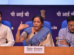 Union Finance Minister Nirmala Sitharaman addressing a press conference in New Delhi on August 23, 2019. (Photo: IANS)